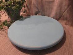 Lovey Lazy Susan, Repurposed Solid Wood, Pretty Light Blue-Aqua, Table Decor, Counter Decor, Cottage Chic, Cottage Beach Distressed Decor by ClassicMontage on Etsy