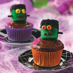 Frankenstein Cupcakes Recipe from Taste of Home  #Halloween