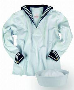 Sjömansskjorta & sjömansmössa vit