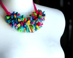 Upcycled collar necklace rainbow/Recycled/ Woman's by cirrhopp
