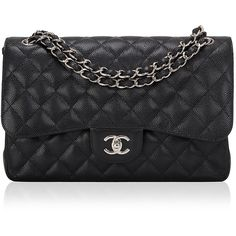 Madison Avenue Couture Chanel Black Quilted Caviar Jumbo Classic... (9,180 CAD) ❤ liked on Polyvore featuring bags, handbags, shoulder bags, quilted shoulder bag, quilted leather purse, black quilted handbag, black purse and black quilted purse