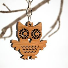 Owl Bag Charm Bamboo Owl Purse Charm Wood Key by graphicspaceswood The Perfect Girlfriend, Owl Purse, Owl Bags, Felt Owls, Pillow Box, Laptop Bag, Laser Cutting, Purses And Handbags, Charmed