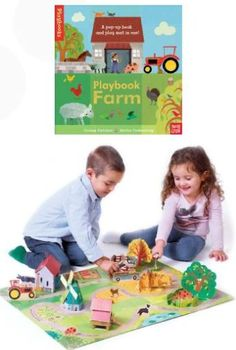 Playbook Farm  Colorful pop-up book transforms into a 3-D farmyard play mat, with stand-up animals  vehicles. Board book 12pp, 9 play pieces.  from 3 – 8 years  www.discoverytoys.com/nadineneufeld  www.facebook.com/discoverytoys.nadineneufeld