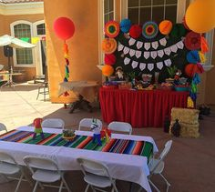 Mexican Fiesta Birthday Party - Candy Buffet and Seating Table