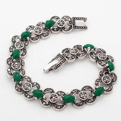 New Arrival Yunkingdom Bohemian Ethnic Jewelry Silver Color Bracelets Green Stones Jewellery