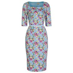 Doris' Vintage English Rose Print 50's Wiggle Dress