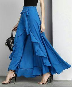 Buy Women Chiffon Knot Tie Waist Ruffle Palazzo Pants Pure Color Long Skirts Style Elegant Wide Leg Pants at Wish - Shopping Made Fun Ruffle Pants, Skirt Pants, Dress Skirt, Chiffon Pants, Chiffon Ruffle, Ruffle Skirt, Harem Pants, Royal Blue Tie, Cooler Look