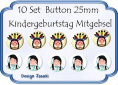 10 Set Button Indianer Mitgebsel Geburtstag von Jasuki auf DaWanda.com