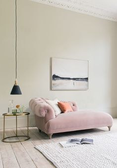 FATS CHAISE LONGUE Chaise, pink, velvet, velvet chaise, dusky pink, pink velvet, chaise lounge, rug, pendant light, brass, gold, brass side table, neutral, blush pink, pale dogwood, pink colour, chalky pink, vintage velvet, vintage chaise, furniture, interiors, industrial, interior design