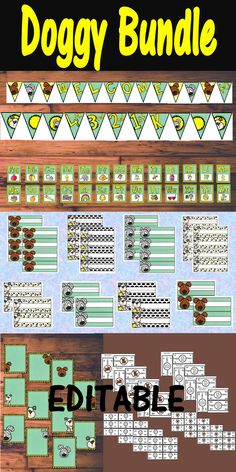 Dog Theme Editable Classroom Decor for Back to School Set.