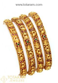 22 Karat Gold 'Lakshmi' Bangles with Color Stones (Temple Jewellery) - Set of 4 Pair) Jewelry Stores, Jewelry Sets, Gold Jewelry, Women Jewelry, Gold Bangles For Women, Gold Ring Designs, Uncut Diamond, Diamond Bangle, Bangle Set