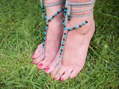 Barefoot Sandals with Wooden Beads, Slave Anklet - Hand Crocheted, £9.99