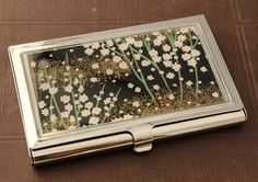 Blossoms at Midnight.  Business card case by Glassology on Etsy