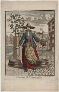 Vrouw met melkemmers Laittiere de Waterlandt uitgever: Danckerts, Cornelis (de Rij) ca 1670 Ingekleurde gravure, voorstellende een vrouw uit Waterland, met een juk met gekuipte, taps toelopende melkemmers. Zij is gesitueerd in een stadsgezicht, wsch. Amsterdam. De tekenaar is onbekend. Mogelijk Pieter van den Berge, of van de uitgever zelf. #NoordHolland #Waterland