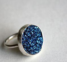 Bright Blue Drusy Ring