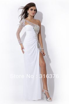 2014 Free Shipping Custom made Prom Dresses with crystal Sheath Floor-Length Asymmetrical One-Shoulder  Full Sheer Straps    US $86.00