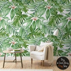 "Light Banana Leaves Removable Wallpaper   Banana leaf   Watercolor wall mural – Peel & Stick   141.73"" x 98.43"" monstera leaf - foliage #22"