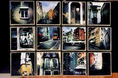 panneau pêle mêle photos et images sur des carrés plats de bois