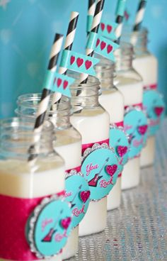 Love these drinks at a Valentine's Day Party!  See more party ideas at CatchMyParty.com!  #partyideas #valentine