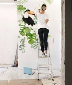 Image may contain: one or more people, people standing, shoes and outdoor Wall Painting Decor, Mural Wall Art, Wall Art Prints, Tropical Interior, Inspiration Wall, Baby Decor, Paint Designs, Wall Wallpaper, Wall Design