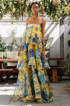 Huge ruffle tiers tube top maxi dress floral print