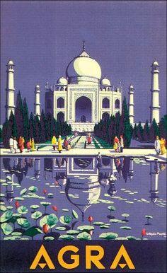 Vintage Travel Art Agra India
