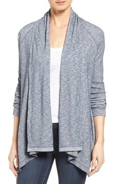Caslon® Slub Knit Drape Front Cardigan (Regular & Petite) available at #Nordstrom