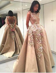 2017 prom dresses,prom dresses,champagne prom dresses,evening dresses with floral,champagne evening dresses with appliques,vestidos,simple evening dresses,prom 2017
