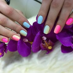 Accurate nails, Beautiful nail colors, Manicure by summer dress, Party nails, Rainbow nails, Shellac nail colors, Spectacular nails, Spring nail ideas