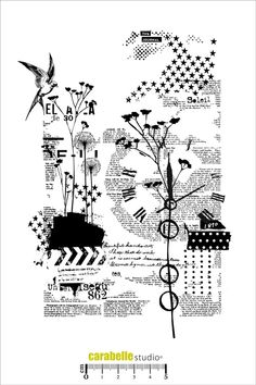 Tampon A5 : Collage nature Carabelle Studio, Tampons A5 : Fond - Art Stamp