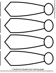 LDS Conference Tie coloring page: write speakers name and color the tie like theirs!