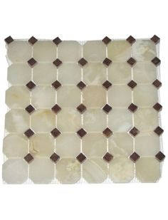 2x2 White Onyx Octagon Pattern Polished Mosaic Tile with 3/8 in. Red Dot Inserts #White_Onyx #Octagon_Pattern #Mosaic_Tile