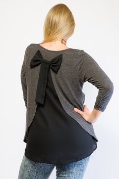 Bow Back Knit Contrast Top. Gstage.com, plus size clothing.