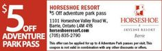 Horseshoe Adventure Park Coupon - $5 OFF Ontario Attractions, Horseshoe Valley, Valley Road, Enjoy Your Vacation, Coupons, Adventure, Park, Parks, Coupon