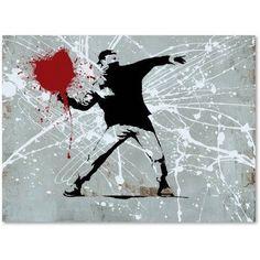 Trademark Fine Art Rage Canvas Art by Banksy, Size: 24 x 32, Black