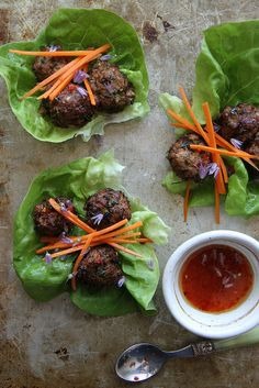 Lemongrass Pork Meatball Lettuce Cups by Heather Christo