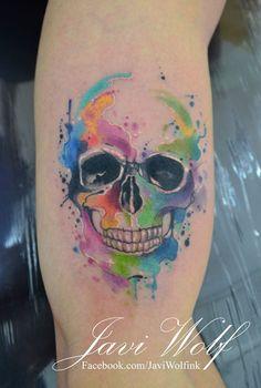 Calavera estilo Acuarelas by Javi Wolf - Tatuajes para Mujeres. Encuentra esta muchas ideas mas de Tattoos. Miles de imágenes y fotos día a día. Seguinos en Facebook.com/TatuajesParaMujeres!