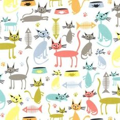 Michael Miller House Designer - Atomic Tabbys - Cat and Kaboodle in Multi