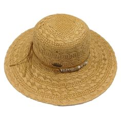 Straw Sun Hat with Bead Band