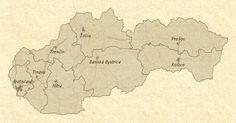 Mapa Slovenska - Slovenské hrady Vintage World Maps, Diagram