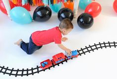 DIY Train Track Party Activity - It's just electrical tape! Trains Birthday Party, Train Party, Birthday Party Themes, 2nd Birthday, Birthday Ideas, Party Activities, Craft Activities For Kids, Crafts For Kids, Happy Wishes