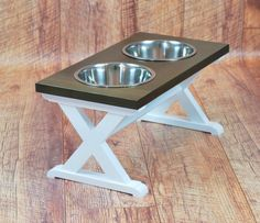 """Large 2 Bowl - """"X"""" Pattern - Dog Bowl Stand - Tall - Choose Colors Elevated Dog Feeder, Raised Dog Feeder, Large Dog Breeds, Large Dogs, Large Dog Bowls, Farmhouse Style Furniture, Farmhouse Table, Dog Bowl Stand, Wood Planter Box"""