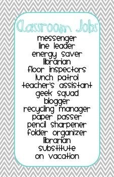 Classroom Job Chart - Gray Chevron...add top banana & weather...make job? for desk...