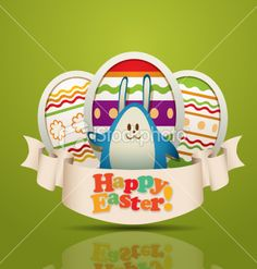 Bunny with ester eggs Royalty Free Stock Vector Art Illustration