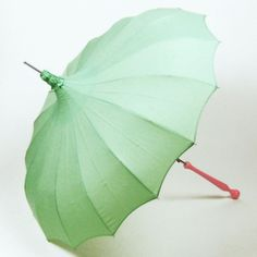 mint parasol with pink handle.. sherbet hues