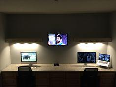 Dual desk with floating shelfs with LED lights!