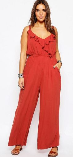 409811861f5 2016 Women Plus Size Elegant Casual Loose Rompers Ruffle Sexy V-neck Big  Large Size Long Jumpsuit