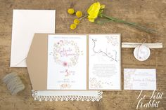 [WEDDING] Watercolor Flowers Wedding Suite_partecipazione matrimonio designed by Le Petit Rabbit