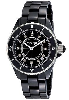 Price:$117.14 #watches Akribos XXIV AK484BK, Combining the latest in today's fashion along with quality and value, this Akribos XXIV ceramic watch is sure to impress you and those around you.