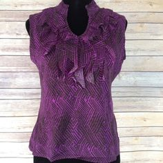 $10 Worthington purple front ruffle blouse Dressy blouse with Ruffles neck. V cut. Worthington petite. ~ let me know if you have any questions.~ 🚫 please ask before buying. Sale is final / no return. 🚫 Comes from a smoke and pet free home. Worthington Tops Blouses